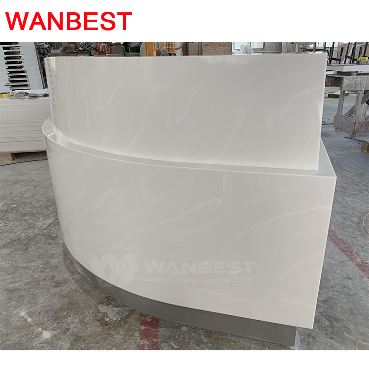The side of artificial artificial stone reception desk