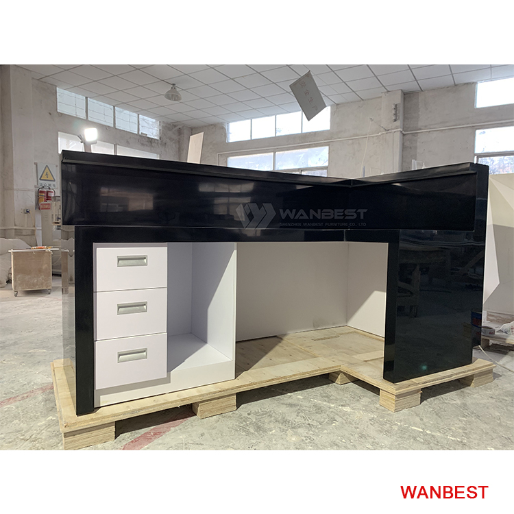 The behind of solid surface reception desk