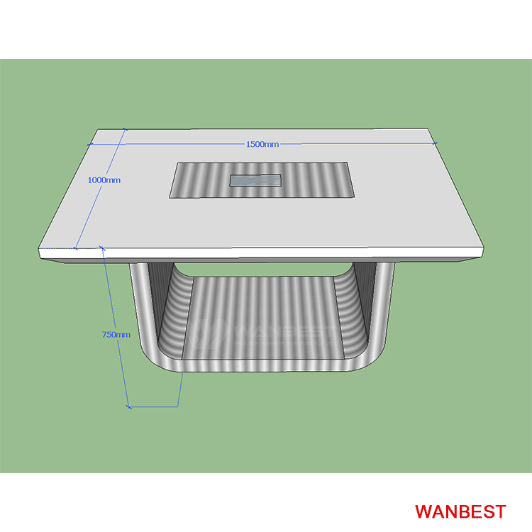 Six seat for people conference table 3D drawing