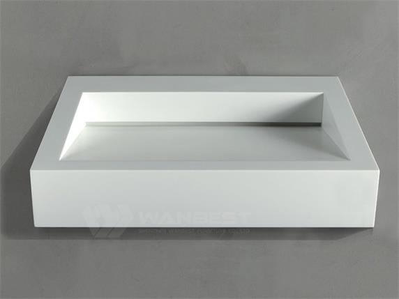 Artificial Marble White Rectangle Special Design Bathroom Sink