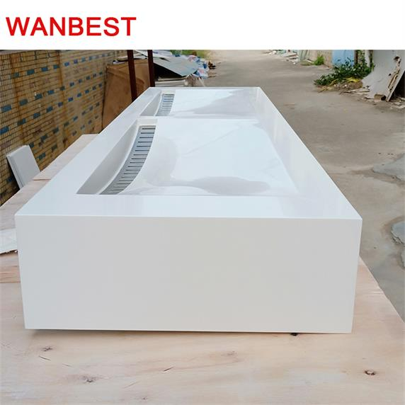 Solid Surface Luxury Bathroom Product Wash Basin With 2 Sinks