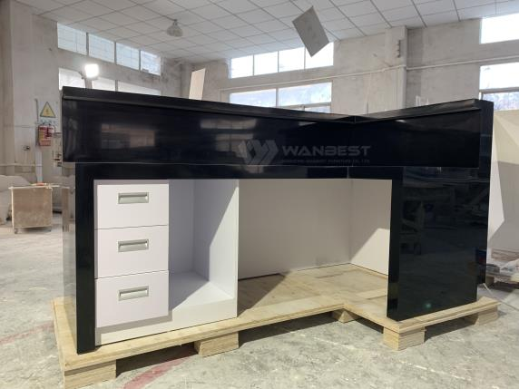 Customized High Quality Black Office Small Standing Salon Reception Desks