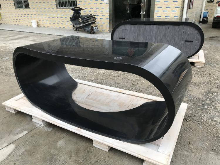 Black solid surface office desk