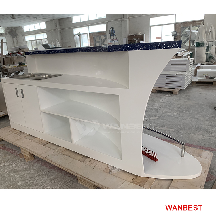 The behind of corian bar counter