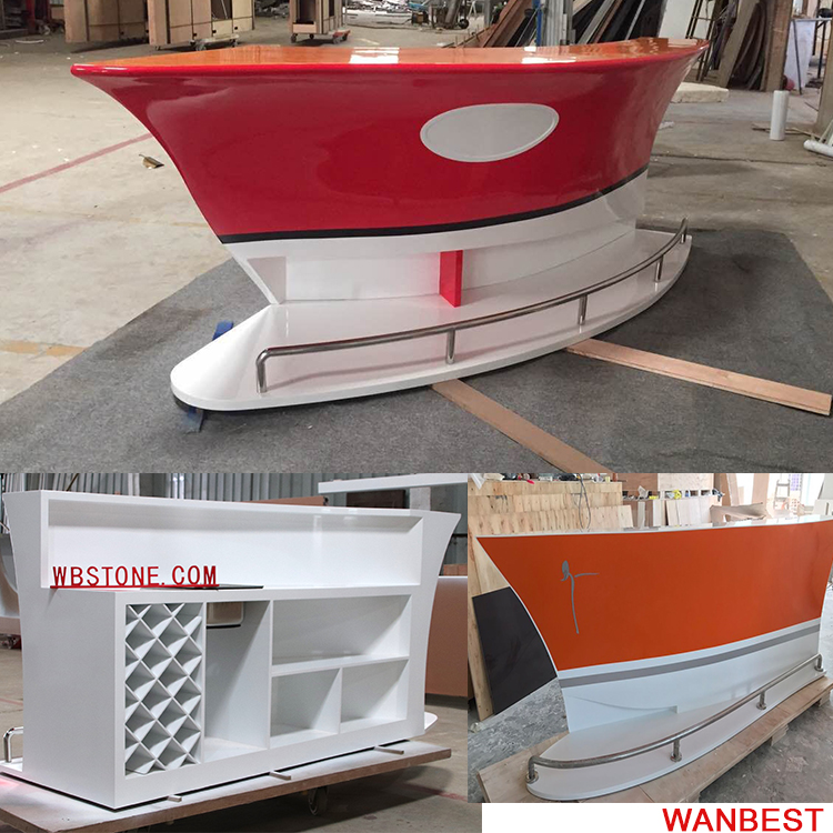 Boat shape bar counter