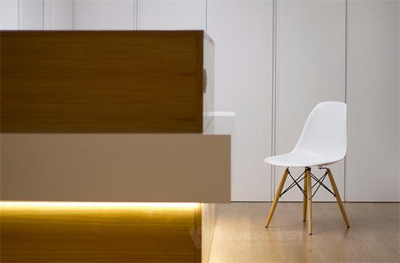 Solid Surface White & Brown Wood LED Light Luxury Reception Desk