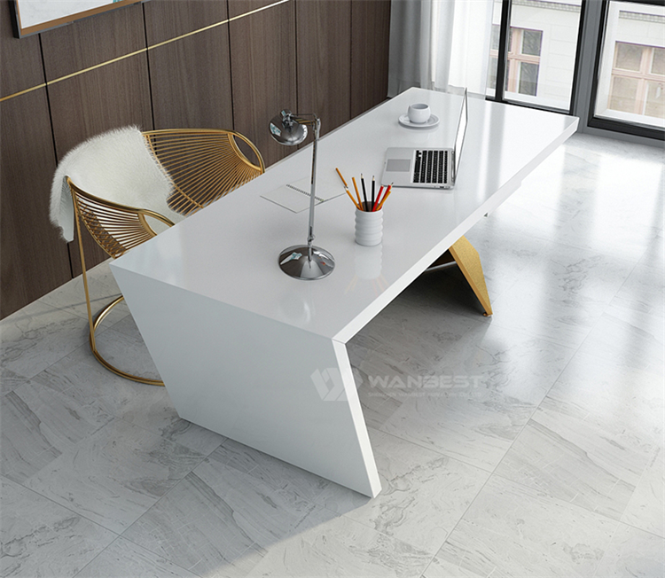 Newest Straight Design Artificial Stone Standard Size Modern Office Furniture White & Gold Office Workstations