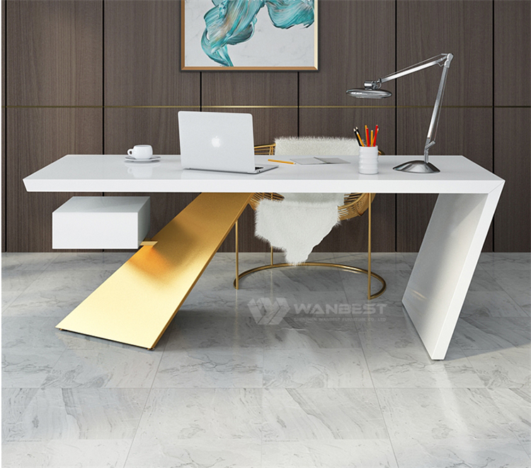 Standard Size Office Desk Stone Material White Body Gold Foot Color Tailored Shape