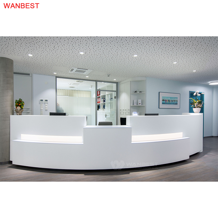 Marble Stone LED Light Large Curved Design Modern Reception Desk