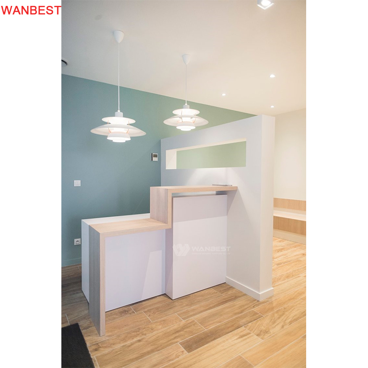 Solid Surface White Reception Desk