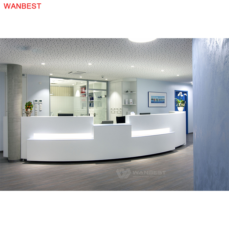 White reception desk
