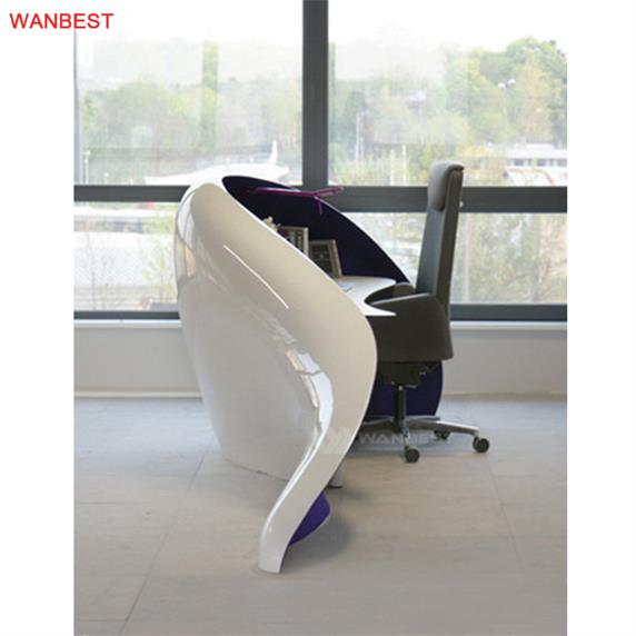 Artificial Stone White Purple Beautiful Curved Design Reception Desk