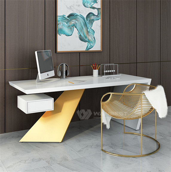 White artificial Stone Gold Stainless Steel Luxury Design CEO Unique Office Desk