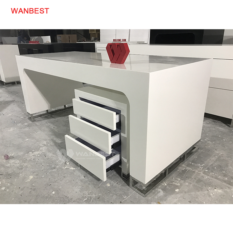 1.8 Meter Acrylic Artificial Stone & Stainless Steel Modern Design White Office Desk