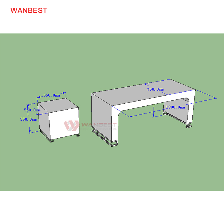 The 3D drawing of office desk