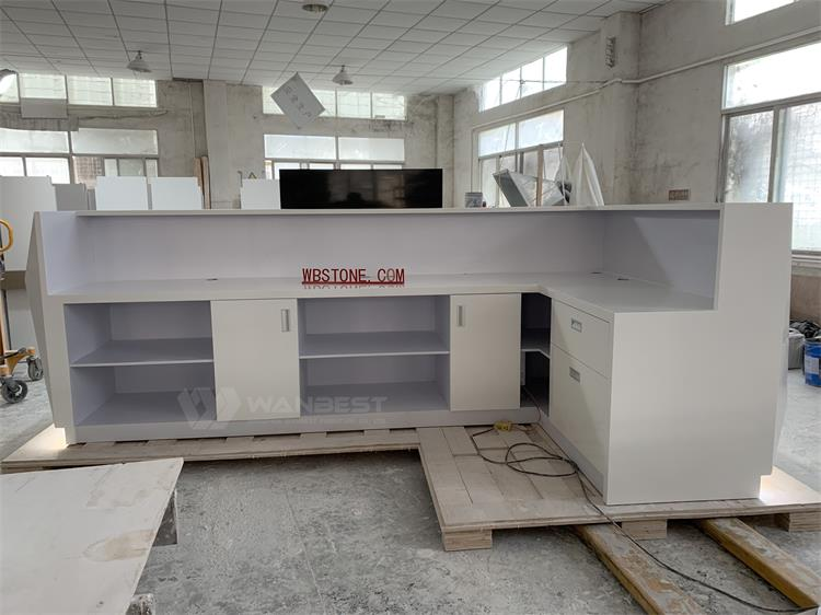 The behind of solid surface front counter