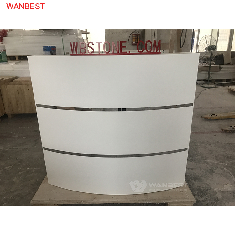 Curved Solid Surface Modern White Durable Reception Desk