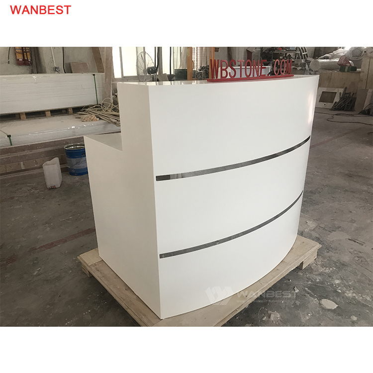 High Quality Curved Matte White Mini Company Center Popualr Reception Counter