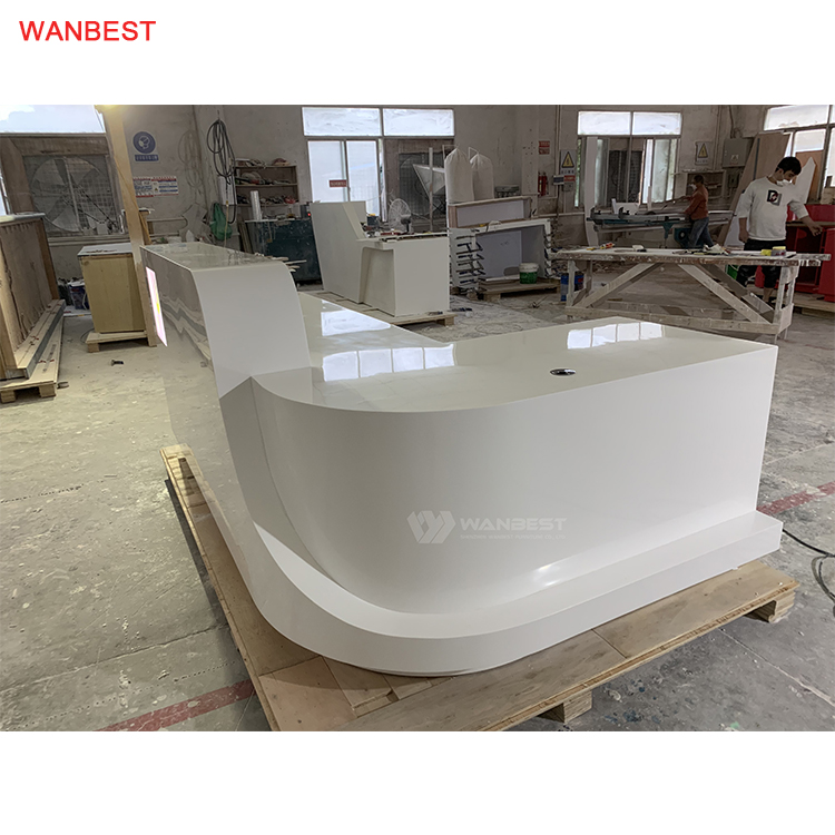 Artificial Stone Standard Size L shape Commercial Beauty Salon Company Front Counter