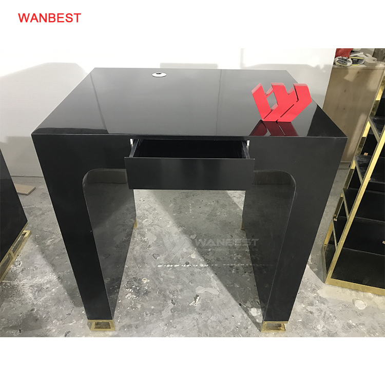 Artificial Marble Stone Black Body Stainless Steel Gold Leg Office Desk Furniture