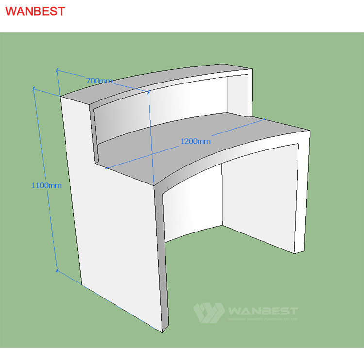The bhind of 3D drawing reception desk