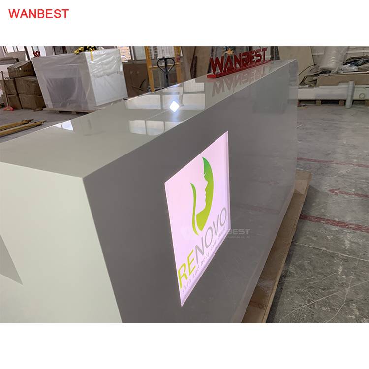 L shape Solid Surface White LED Light LOGO Reception Desk Furniture