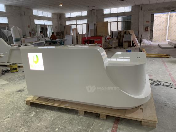L shape Solid Surface White LED Light LOGO Reception Desk
