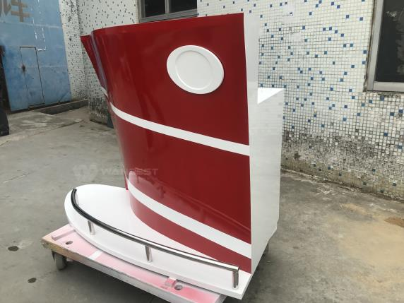 Boat Shape Wooden Lacquer Red & White Modern Bar Counter