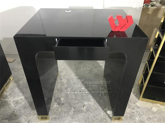 Artificial Stone Black Body Stainless Steel Gold Leg Office Desk