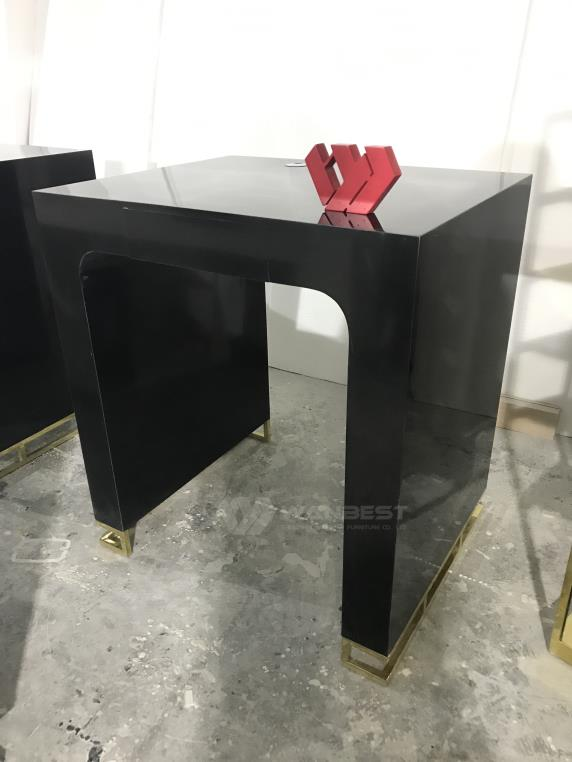 Artificial Stone Black Body Stainless Steel Gold Leg Reception Desk