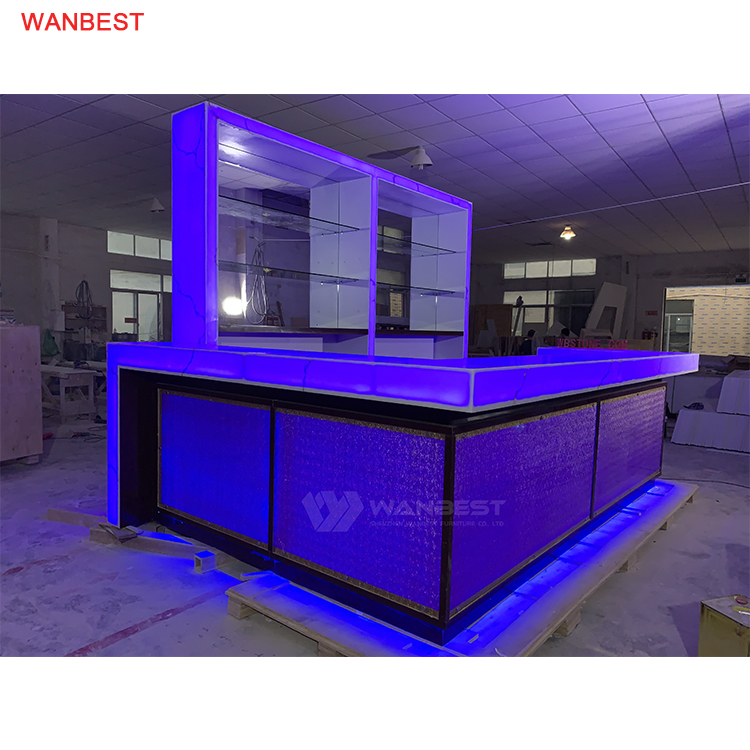Brown Artificial Stone 304 Stainless Steel High Wall Cabinets Luminous Large Bar Counter