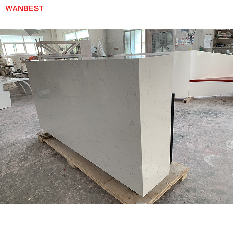 The side of marble stone reception desk