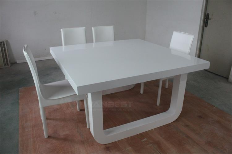 6 people Seats Acrylic Stone White Modern Dining Table