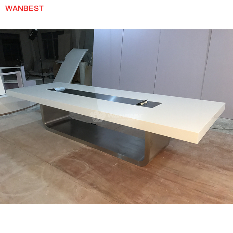 Solid surface top stainless steel leg conference table
