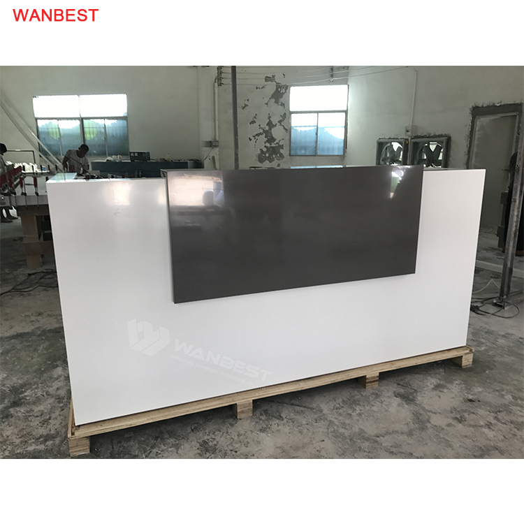 LED Acrylic Stone White Black Reception Desk