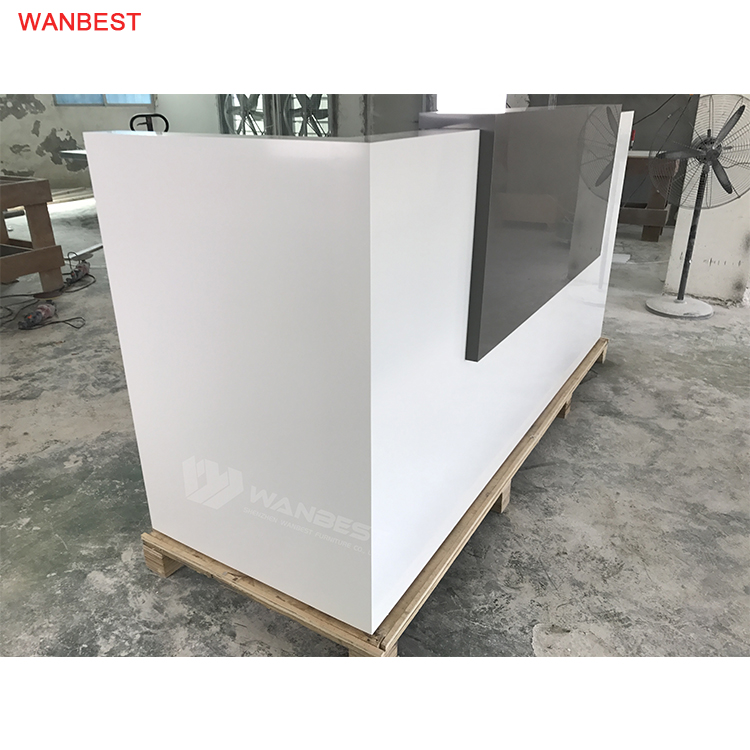 The side of artificial stone reception desk