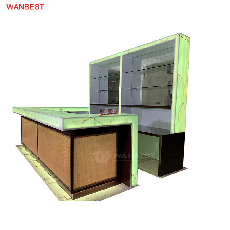 Acrylic Solid Surface Luxury Commercial  Bar Counter With Customized Wall Cabinet RGB Lights