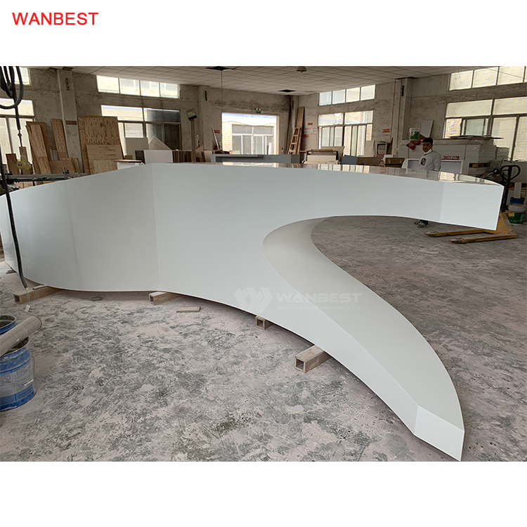 High Quality Acrylic Solid Surface Art Design Restaurant Reception Furniture Counter