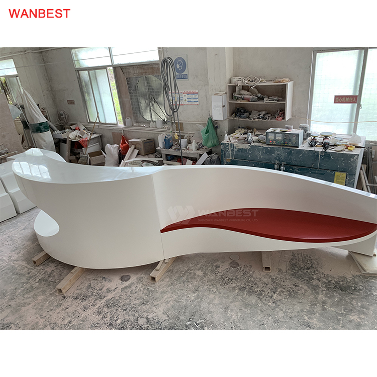 High quality health material solid surface reception desk