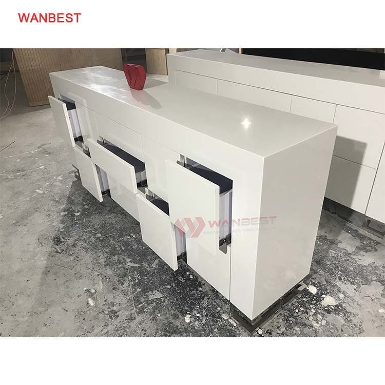 I Shape Solid Surface Health Material High Gloss Unique Design Reception Desk