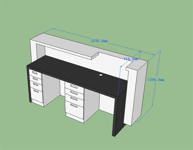 The 3D drawing of health material reception desk