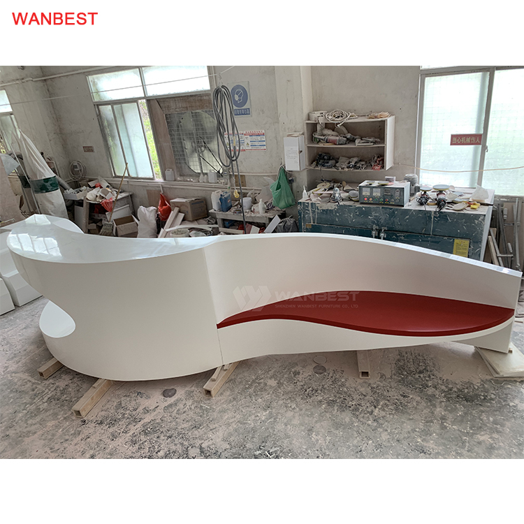 Arc Design Artificial Stone White Red High Gloss Good Price Art Gallery Front Counter Furniture