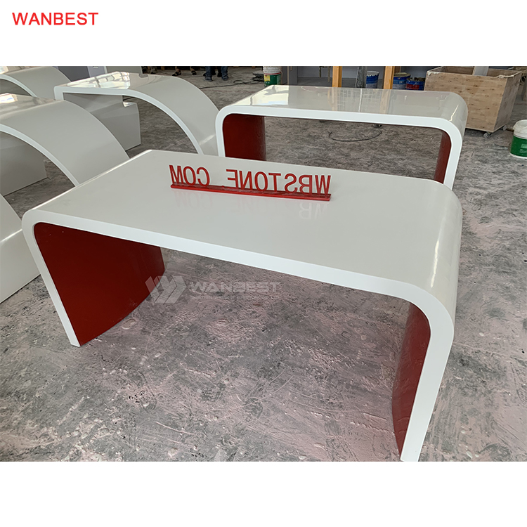 N shape artificial stone office desk