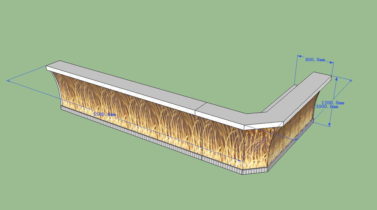 The front of modern bar counter 3D drawing