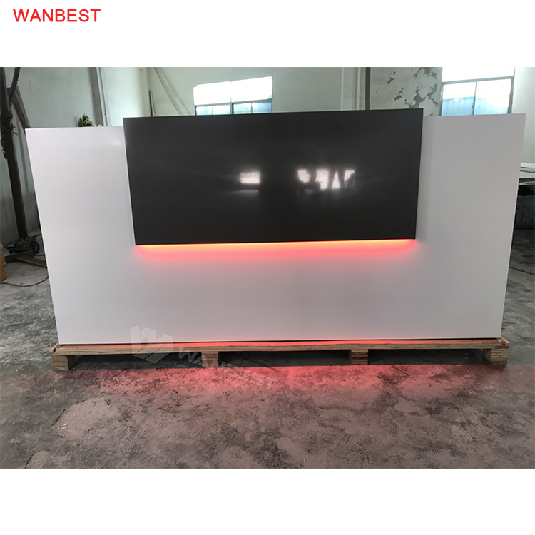 LED Light Acrylic Stone White Black Reception Desk