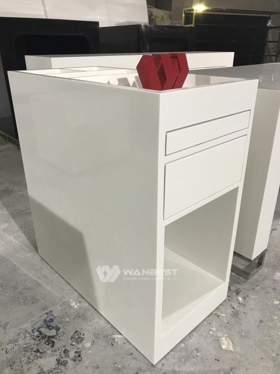 Aritificial Stone White Customized Small Design Commercial Display Counter