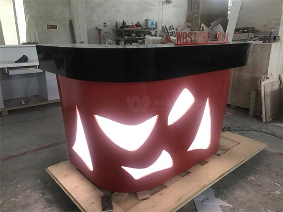 Black & Red LED light Acrylic stone Commercial Bar Counter For Sale