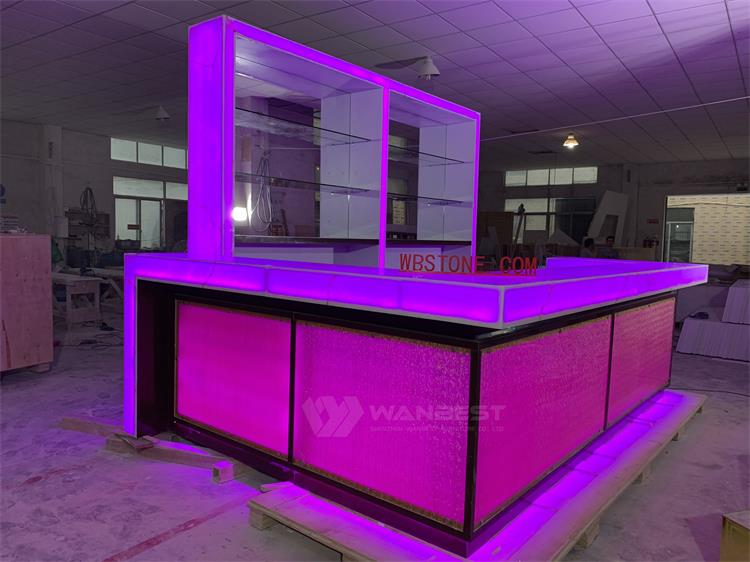 Hight Quality Acrylic Solid Surface Translucent Stone Large Restaurant Pub Counter