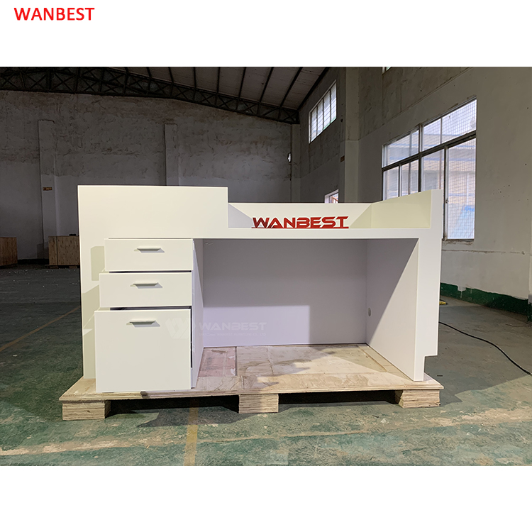 Marble High Quality Matte One Person Salon Beauty White Reception Furniture Desk