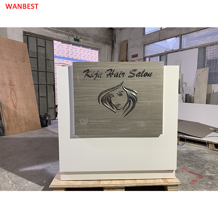 Reception desk with 304# stainless steel LOGO
